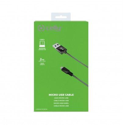 USB Data Cable MicroUSB Black 2 Metri