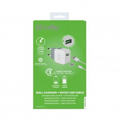 Kit Travel Charger USBturbo USBmicro Cable White