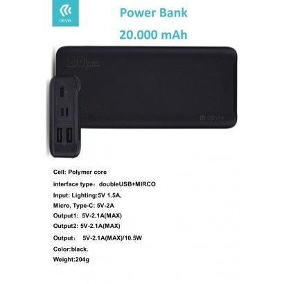 DEVIA Power Bank 20.000 mah